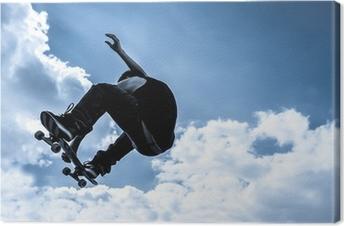 Canvas Gestemd blauw maanlicht skateboarden abstract