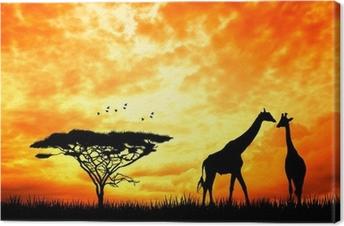 Canvas Giraf in Afrikaans landschap