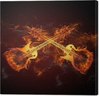 Canvas Gitarren Feuer