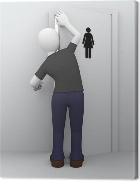 Canvas Gluren meisjes wc • Pixers® - We leven om te veranderen