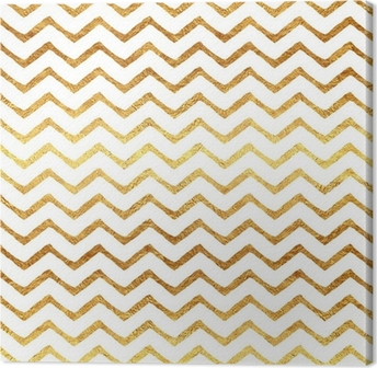 Canvas Gold Faux Folie Chevron Metallic witte achtergrond Patroon