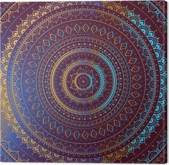 Canvas Goud Mandala. Indiase decoratief patroon.