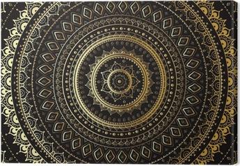 Canvas Goud Mandala. Indiase decoratief patroon.