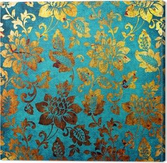 Canvas Gouden-blauwe vintage achtergrond