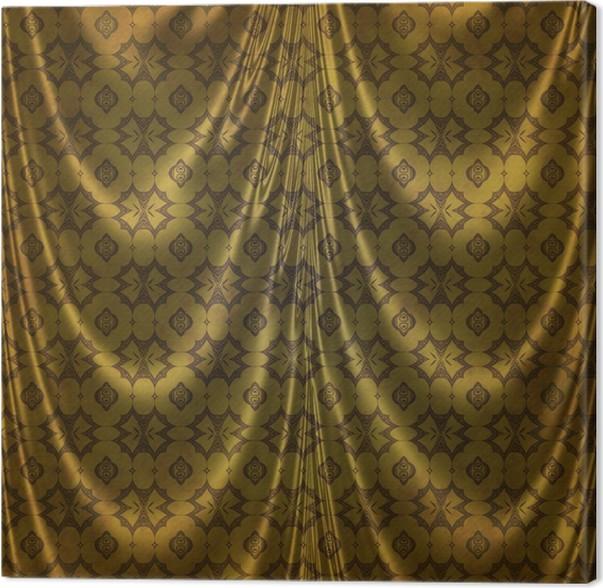 Canvas Gouden oosterse klassiek ontwerp op stof gordijnen • Pixers ...