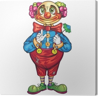 Canvas Grappige cartoon clown op een witte achtergrond