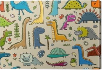 Canvas Grappige dinosaurussen, kinderachtige stijl. naadloos patroon voor uw ontwerp
