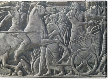 Canvas Griekse oude alike plaquette bij Grote Alexander monument op Thessa
