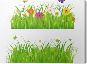 Canvas Groen Gras met bloemen en insecten