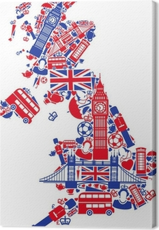 Canvas Groot-Brittannië kaart