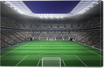 Canvas Groot voetbalstadion met verlichting