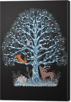 Canvas Grote blauwe boom met verschillende dieren op een zwarte achtergrond