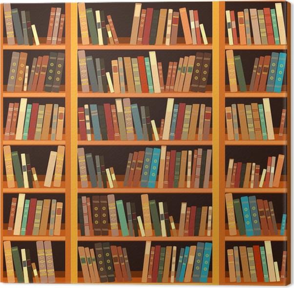 Canvas Grote boekenkast met verschillende boeken • Pixers® - We ...