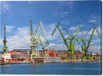 Canvas Grote kranen en dok bij de scheepswerf van Gdansk, Polen.