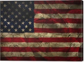 Canvas Grunge Amerikaanse vlag achtergrond.