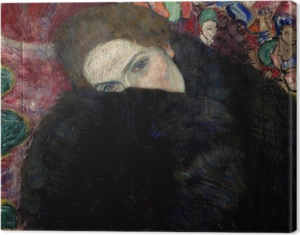 Canvas Gustav Klimt - Dame met hoed en verenboa - Reproducties