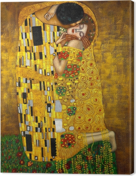Canvas Gustav Klimt - De kus - Reproducties