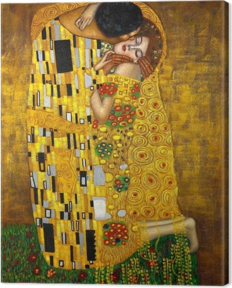 Canvas Gustav Klimt - De kus - Reproducties