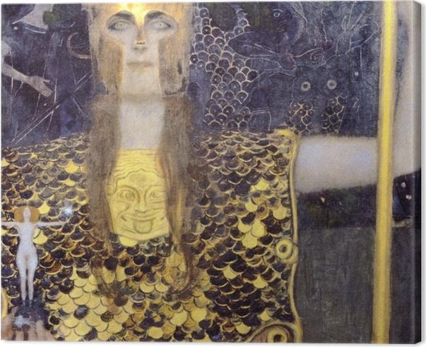 Canvas Gustav Klimt - Minerva ofwel Pallas Athena - Reproducties