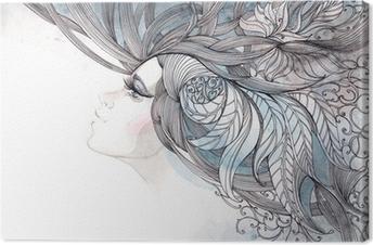 Canvas Haar haren versierd met loof