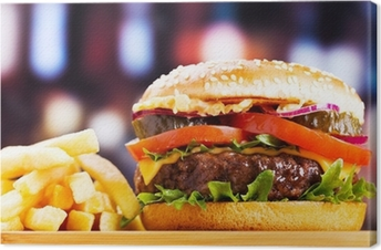 Canvas Hamburger met frieten