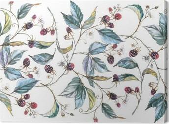 Canvas Hand getekende aquarel naadloos ornament met natuurlijke motieven: blackberry takken, bladeren en bessen. Herhaalde decoratieve illustratie, grens met bessen en bladeren