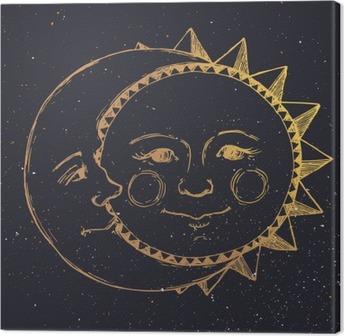 Canvas Hand getrokken zon met maan