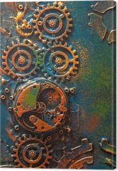 Canvas handmade steampunk background mechanical cogs wheels clockwork