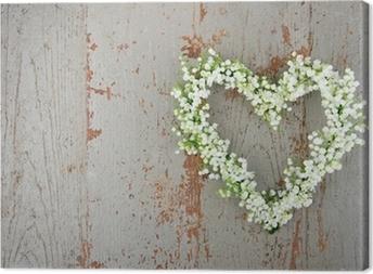 Canvas Hartvormige bloem krans van lilys van de vallei