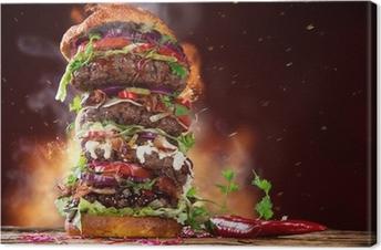 Canvas Heerlijke grote hamburger op hout