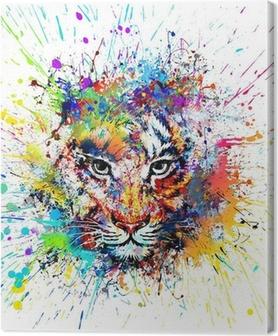Canvas Heldere achtergrond met tijger
