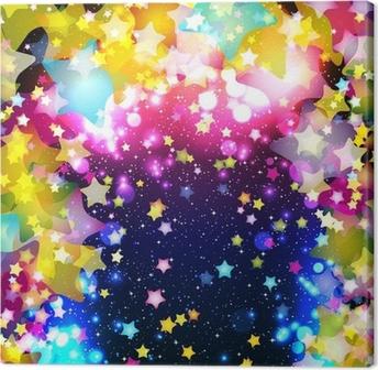 Canvas Heldere kleurrijke vliegende sterren op een fantastisch design achtergrond.