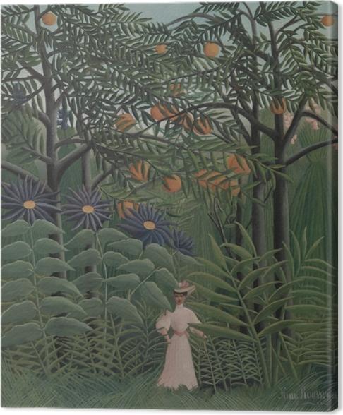 Canvas Henri Rousseau - Een vrouw wandelt in het exotische bos rond - Reproducties