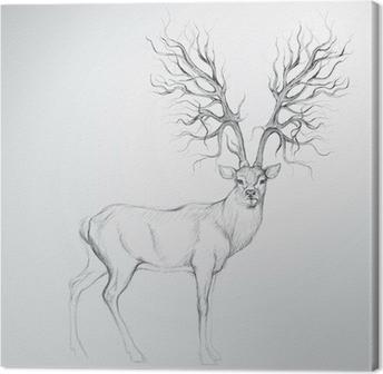 Canvas Herten met Antler als boom / Realistisch schets