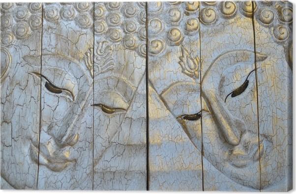 Canvas het houtsnijwerk van boeddha gezicht u2022 pixers® we leven om