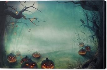 Canvas Het ontwerp van Halloween - Bos pompoenen