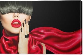 Canvas High Fashion Meisje met trendy kapsel, make-up en manicure