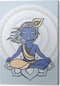 Canvas Hindoe god Krishna.