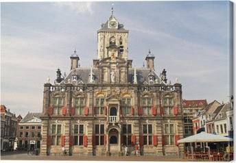 Canvas Historische Stad van Delft, Nederland
