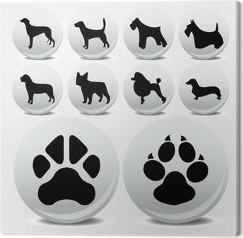 Canvas Honden collectie vector iconen en voetafdrukken