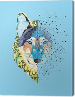 Canvas Hoofd van de wolf in geometrische patroon met ster lijn vector