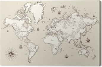 Canvas Hoog gedetailleerde, Oude wereldkaart met decoratieve elementen