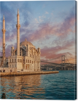 Canvas Iconic view of Istanbul from Ortakoy with The Bridge, The Mosque and The Bosphorus