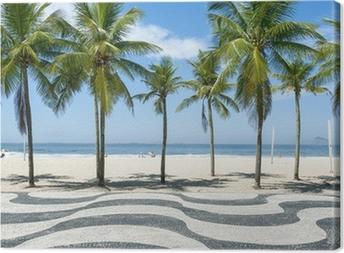 Canvas Iconische stoeptegel patroon met palmbomen op het strand van Copacabana in Rio de Janeiro, Brazilië