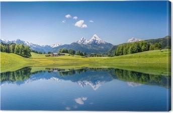 Canvas Idyllische zomer landschap met bergen meer en de Alpen