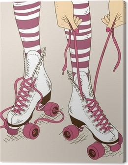 Canvas Illustratie met vrouwelijke benen in retro rolschaatsen