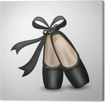 Canvas Illustratie van realistische zwarte ballet pointes schoenen