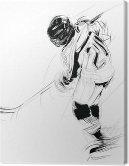 Canvas Inkt tekening illustratie van een ijs Hickey speler