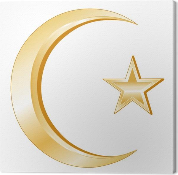 Canvas Islam Symbol Goud Crescent En Star Iconen Van Het