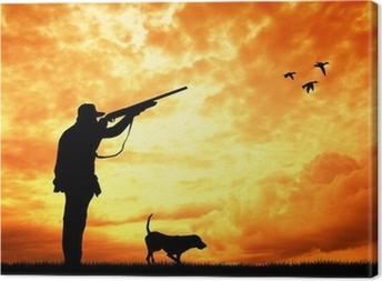 Canvas Jager bij zonsondergang